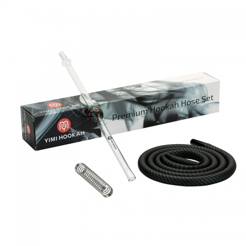 Yimi Hookah Carbon Silicone Hose Glass Mouthpiece Set